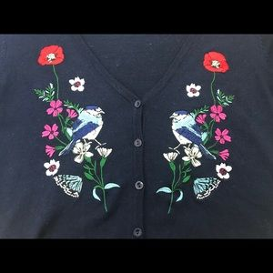 Navy cardigan with embroidered front